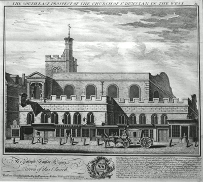 ANTIQUE PRINT: THE SOUTH EAST PROSPECT OF THE CHURCH OF ST. DUNSTAN IN THE WEST [FLEET STREET].