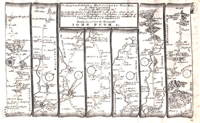 ANTIQUE MAP: THE ROAD FROM LONDON TO MONTGOMERY NORTH WALES ...