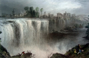 ANTIQUE PRINT: THE GENESSE FALLS, ROCHESTER.