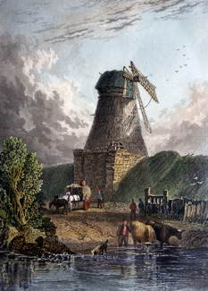 ANTIQUE PRINT: MILL AT KEMPSFORD. GLOUCESTERSHIRE.