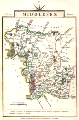 ANTIQUE MAP: MIDDLESEX.