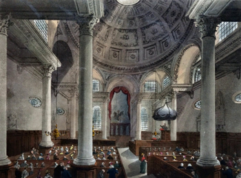 ANTIQUE PRINT: ST. STEPHEN'S, WALBROOK.