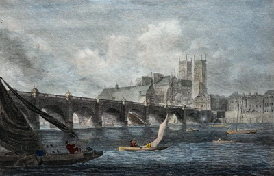 ANTIQUE PRINT: VIEW OF WESTMINSTER BRIDGE.