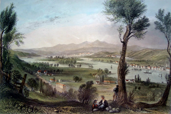 ANTIQUE PRINT: VIEW FROM MOUNT IDA. (NEAR TROY.)