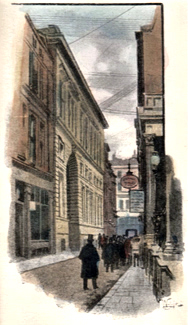 ANTIQUE PRINT: ROTHSCHILDS' BANK, ST. SWITHIN'S LANE.