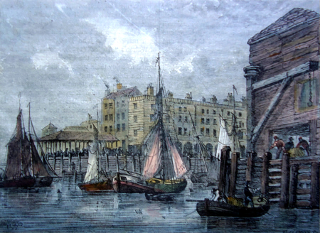 ANTIQUE PRINT: BILLINGSGATE. (FROM A VIEW TAKEN IN 1820.)