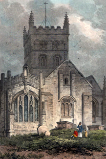 ANTIQUE PRINT: ST. JOHN'S CHURCH DEVIZES, WILTSHIRE. VIEW OF THE EAST END.