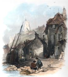 ANTIQUE PRINT: FOLKESTONE. KENT.