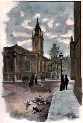 ANTIQUE PRINT: [ST. LAWRENCE JEWRY] ST. LAWRENCE  CHURCH AND FOUNTAIN, GUILDHALL YARD.