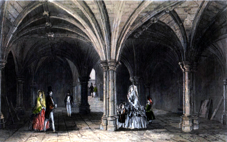ANTIQUE PRINT: THE CRYPT AT GUILDHALL.