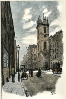 ANTIQUE PRINT: UPPER THAMES STREET.