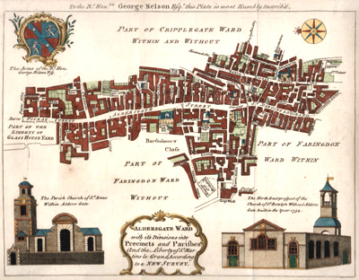 ANTIQUE PRINT: ALDERSGATE WARD WITH IT'S DIVISIONS INTO PRECINCTS AND PARISHES AND THE LIBERTY OF ST. MARTINS LE GRAND, ACCORDING TO A NEW SURVEY.