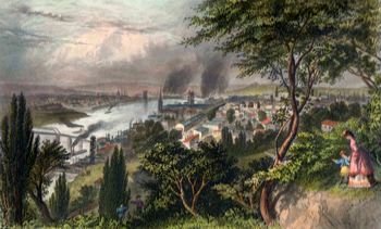 Antique print of Cincinnati, Ohio