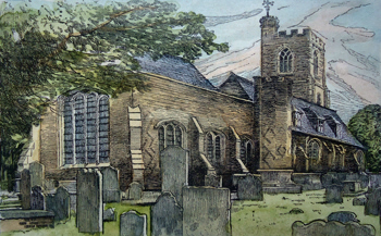 ANTIQUE PRINT: WEST HAM CHURCH.