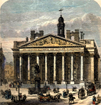 ANTIQUE PRINT: THE PRESENT ROYAL EXCHANGE.