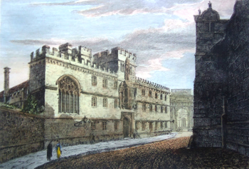ANTIQUE PRINT: CORPUS CHRISTI COLLEGE [OXFORD].