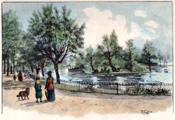 Antique print of Finsbury Park, North London