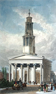 ANTIQUE PRINT: [ST. PANCRAS] ST. PANCRASS CHURCH, WEST FRONT.