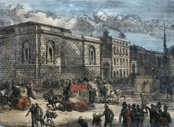 ANTIQUE PRINT: FRONT OF NEWGATE FROM THE OLD BAILEY.