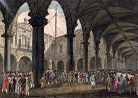 ANTIQUE PRINT: INTERIOR OF THE ROYAL EXCHANGE, LONDON.