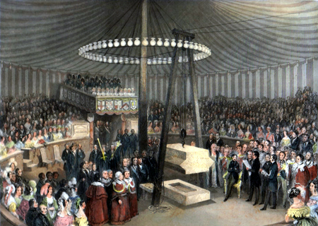 ANTIQUE PRINT: CEREMONY OF LAYING THE FIRST STONE OF THE NEW ROYAL EXCHANGE BY PRINCE ALBERT, MONDAY, JAN.Y 17, 1842.