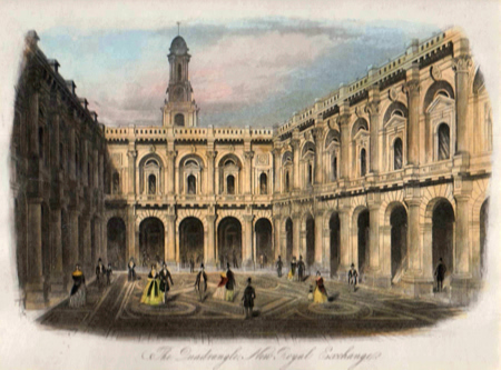 ANTIQUE PRINT: THE QUADRANGLE, NEW ROYAL EXCHANGE.