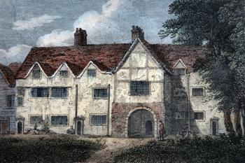 ANTIQUE PRINT: PART OF THE CHARTER HOUSE.