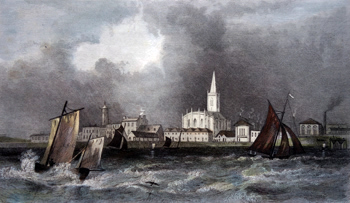 ANTIQUE PRINT: HARWICH, FROM THE SEA.
