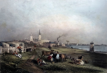 Antique print of Harwich, Essex