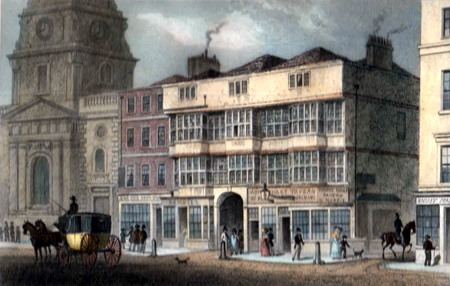 ANTIQUE PRINT: THE OLD WHITE HART TAVERN, BISHOPSGATE STREET. NOW PULLED DOWN.