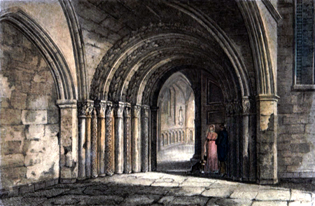 ANTIQUE PRINT: DOOR WAY TO THE TEMPLE CHURCH, LONDON.