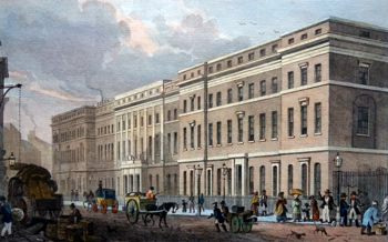 ANTIQUE PRINT: THE CUSTOM HOUSE, FROM THAMES STREET.