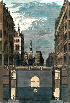 ANTIQUE PRINT: SECTION OF THE HOLBORN VIADUCT, SHOWING THE SUBWAYS. (TAKEN BY PERMISSION FROM MR. HAYWOOD'S REPORT.)