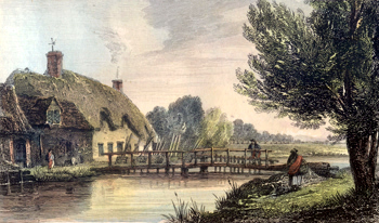 ANTIQUE PRINT: RADCOT WIER.