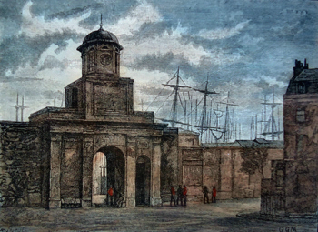 ANTIQUE PRINT: ENTRANCE TO THE EAST INDIA DOCKS.