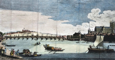 ANTIQUE PRINT: A PERSPECTIVE VIEW OF THE NEW BRIDGE AT WESTMINSTER, OPENED THE 18.TH NOV.R 1750.