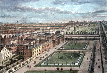 ANTIQUE PRINT: OLD VIEW OF ST. JAMES'S PALACE, BEFORE THE GREAT FIRE OF LONDON.