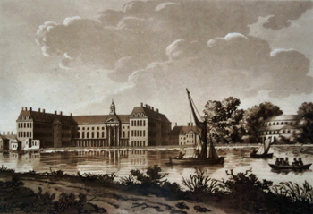 ANTIQUE PRINT: CHELSEA COLLEGE, & RANELAGH HOUSE.