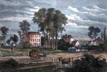 ANTIQUE PRINT: PADDINGTON GREEN IN 1750. (FROM A DRAWING IN MR. CRACE'S COLLECTION.)
