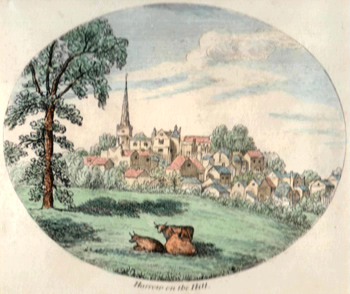 ANTIQUE PRINT: HARROW ON THE HILL.