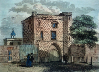 ANTIQUE PRINT: OLD GATEWAY AT STEPNEY. (FROM A VIEW PUBLISHED BY N. SMITH, 1791.)