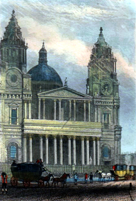 ANTIQUE PRINT: ST. PAUL'S CATHEDRAL. LONDON.