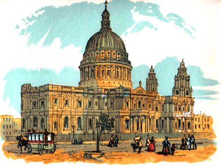 ANTIQUE PRINT: ST. PAUL'S CATHEDRAL.