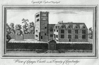 ANTIQUE PRINT: VIEW OF CAMPS CASTLE IN THE COUNTY OF CAMBRIDGE.