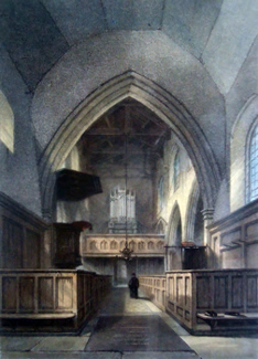 ANTIQUE PRINT: INTERIOR OF ST. BENET'S CHURCH [CAMBRIDGE].