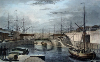 Antique print of the London Docks, Wapping