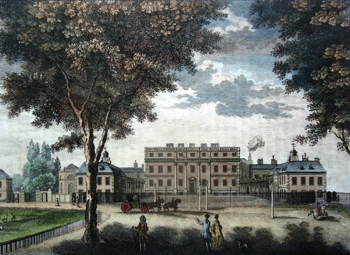 ANTIQUE PRINT: A PERSPECTIVE VIEW OF THE QUEEN'S PALACE, FORMERLY BUCKINGHAM HOUSE IN ST. JAMES'S PARK.