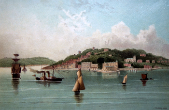 Antique print of Cowes