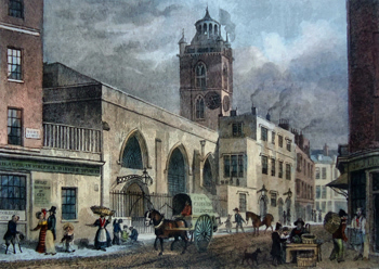 Antique print of St Giles Cripplegate