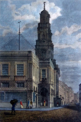 ANTIQUE PRINT: ROYAL EXCHANGE, LOOKING SOUTH WESTWARD. LONDON.